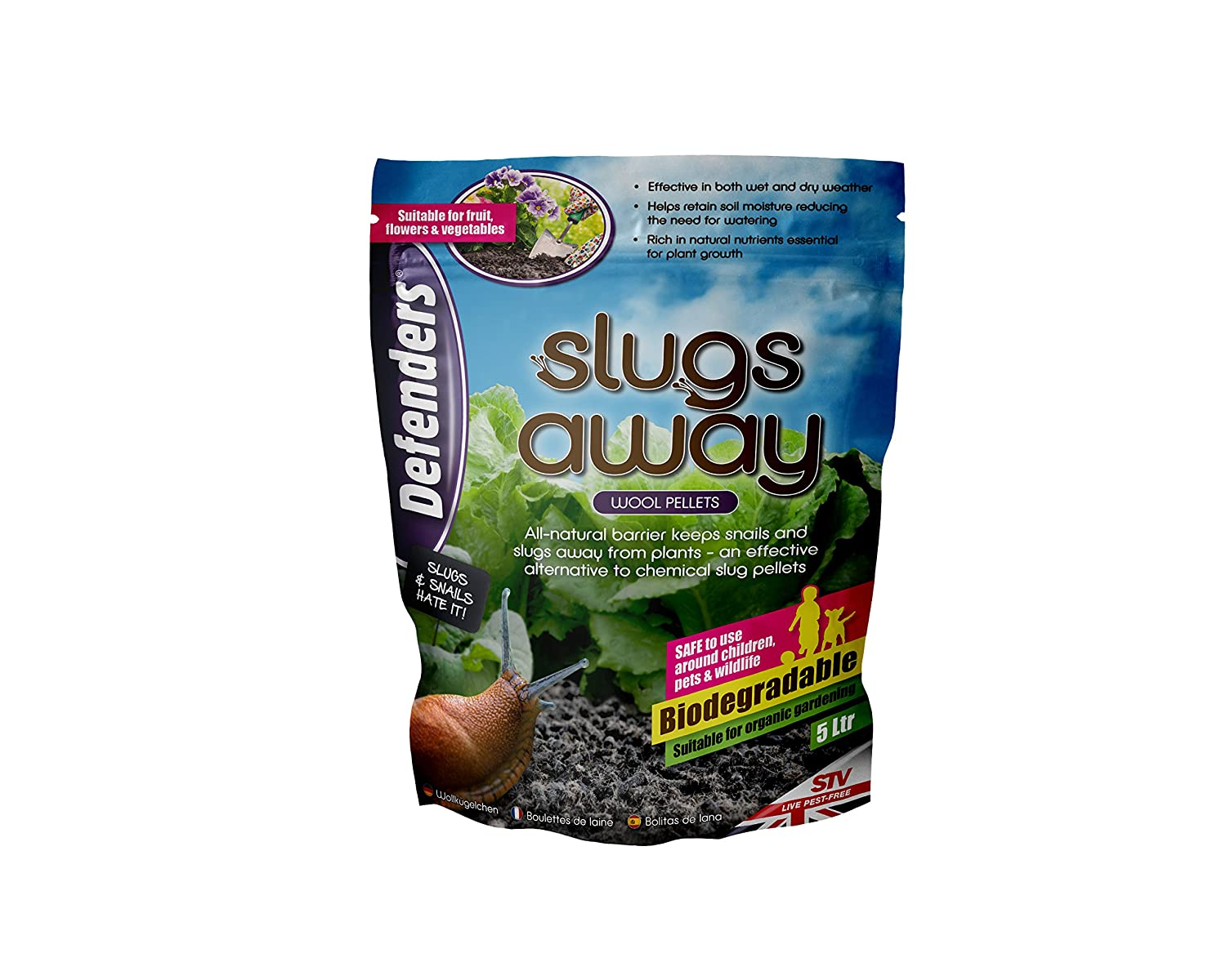Defenders Slugs Away (Wool Pellets, Slug Deterrent, Protect Gardens and Plants), 5 Litres, Blue STV International STV053