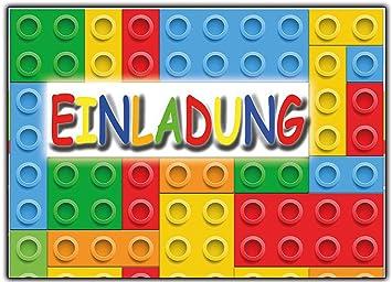 12 Er Set Lustige Einladungskarten Zum Kindergeburtstag Bausteine