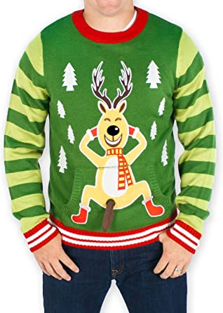 979a80289 Men's Frisky Reindeer Naughty Sweater (Green) - Ugly Holiday Sweater (Small)