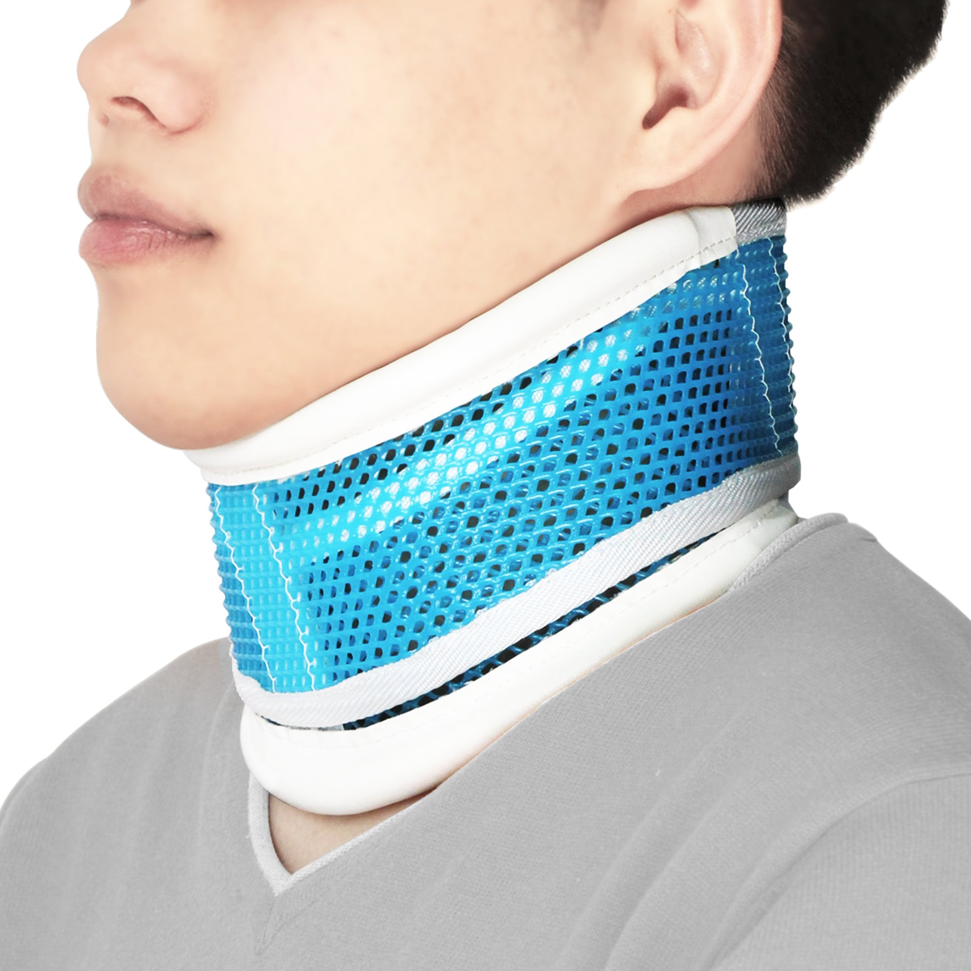 REAQER Neck Collar Cervical Traction Device Adjustable Height Neck Support Brace to Relieves Pain and Pressure in Spine(Blue)