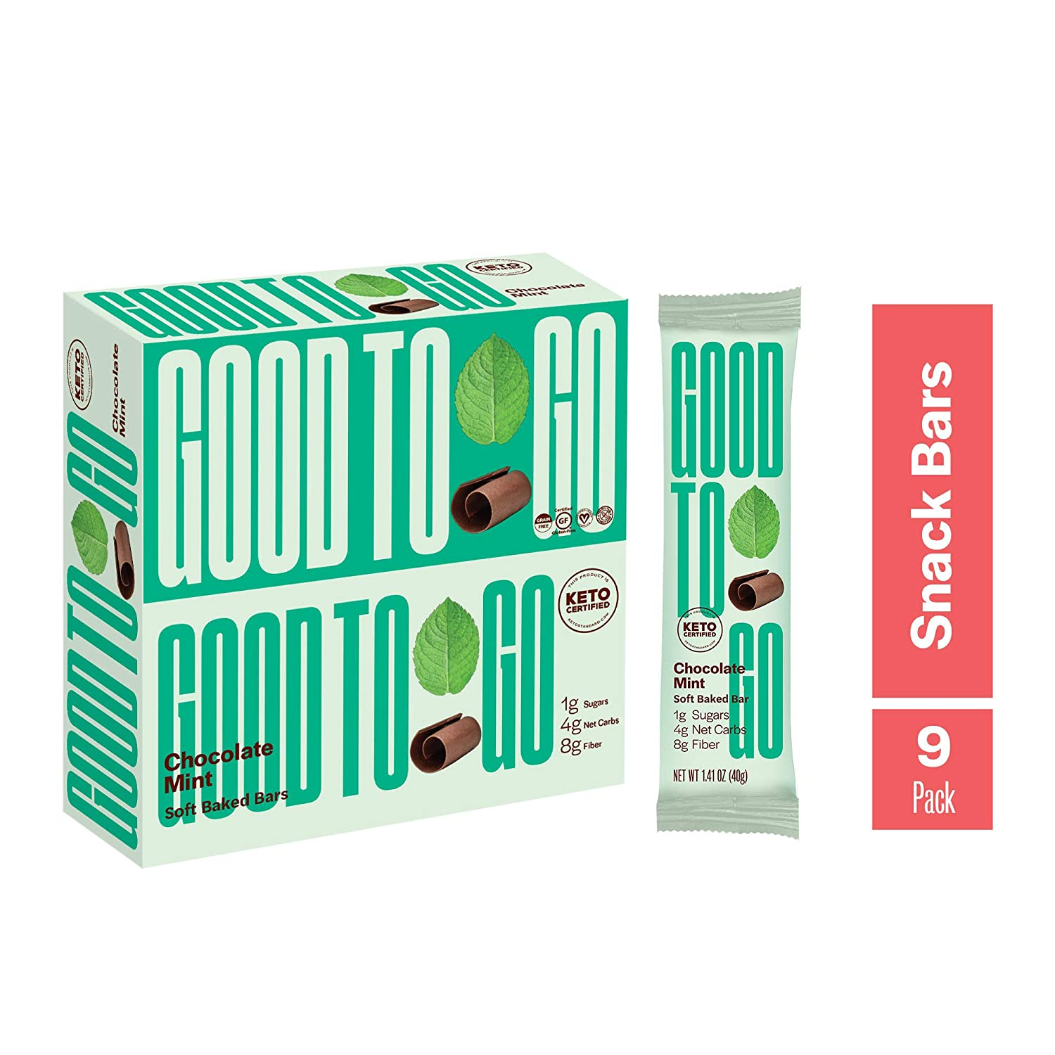 GOOD TO GO Soft Baked Bars - Chocolate Mint, 9 Pack - Gluten Free, Keto Certified, Paleo Friendly, Low Carb Snacks…