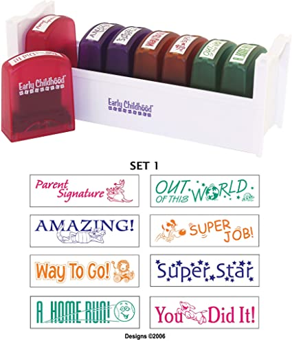 8-Piece ECR4Kids Colorful Self-Inking Recognition School Grading Teacher Stamp Set and Tray