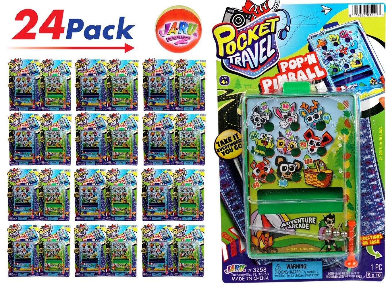 JA-RU Pinball Pocket Travel Game (24 Units) and one Bouncy Ball Item #3258-24p