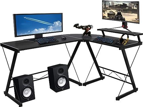 Halter L-Shaped Desk 59″ Computer Corner Desk Home Gaming Review