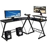 """Halter L-Shaped Desk 59"""" Computer Corner Desk Home Gaming, Office Desk Study Writing Modern Table, Black Desk with Black Meta"""