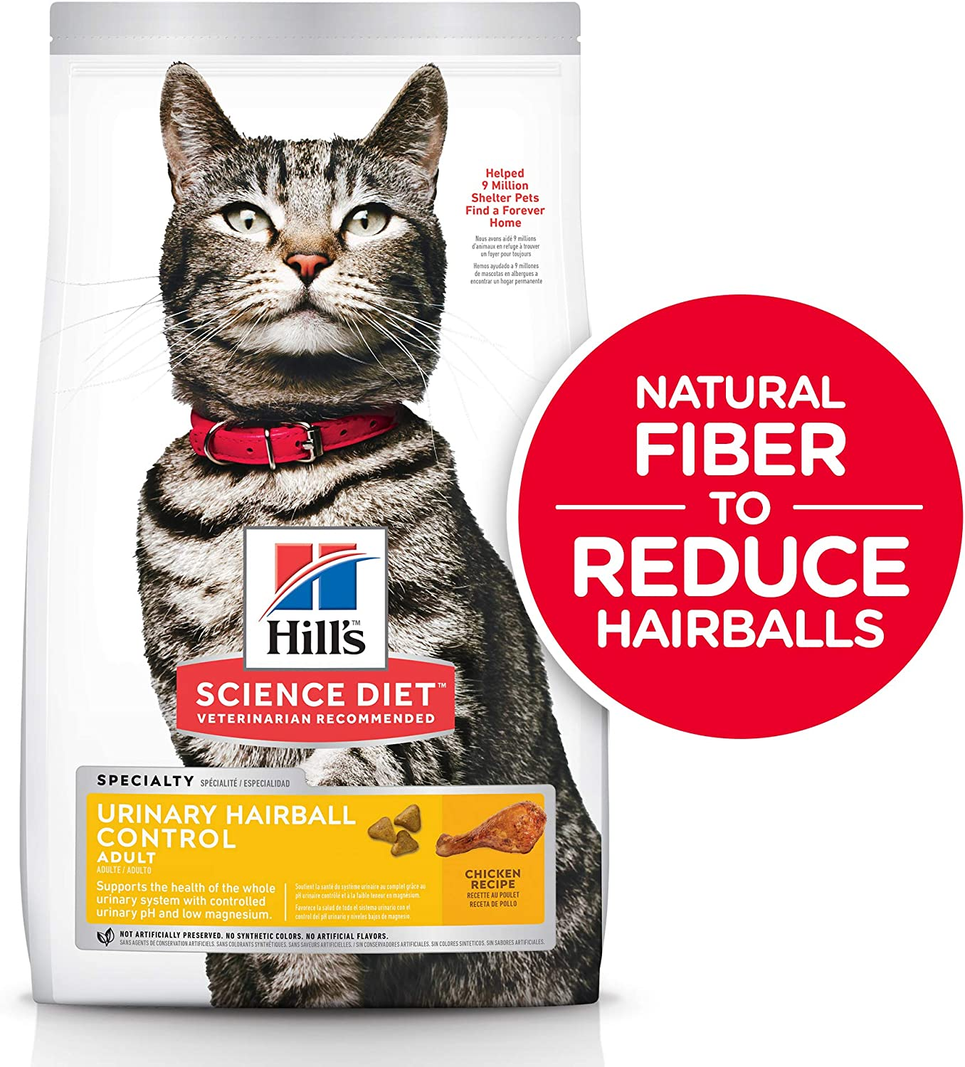 2. Hill's Science Diet Adult Urinary Hairball Control Dry Cat Food