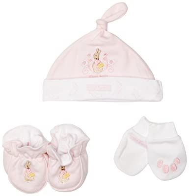 Peter Rabbit Beatrix Potter Baby Girl s Hat Mitts and Booties 3 Piece Hat  Gloves and Scarf 91d7068a2ba6