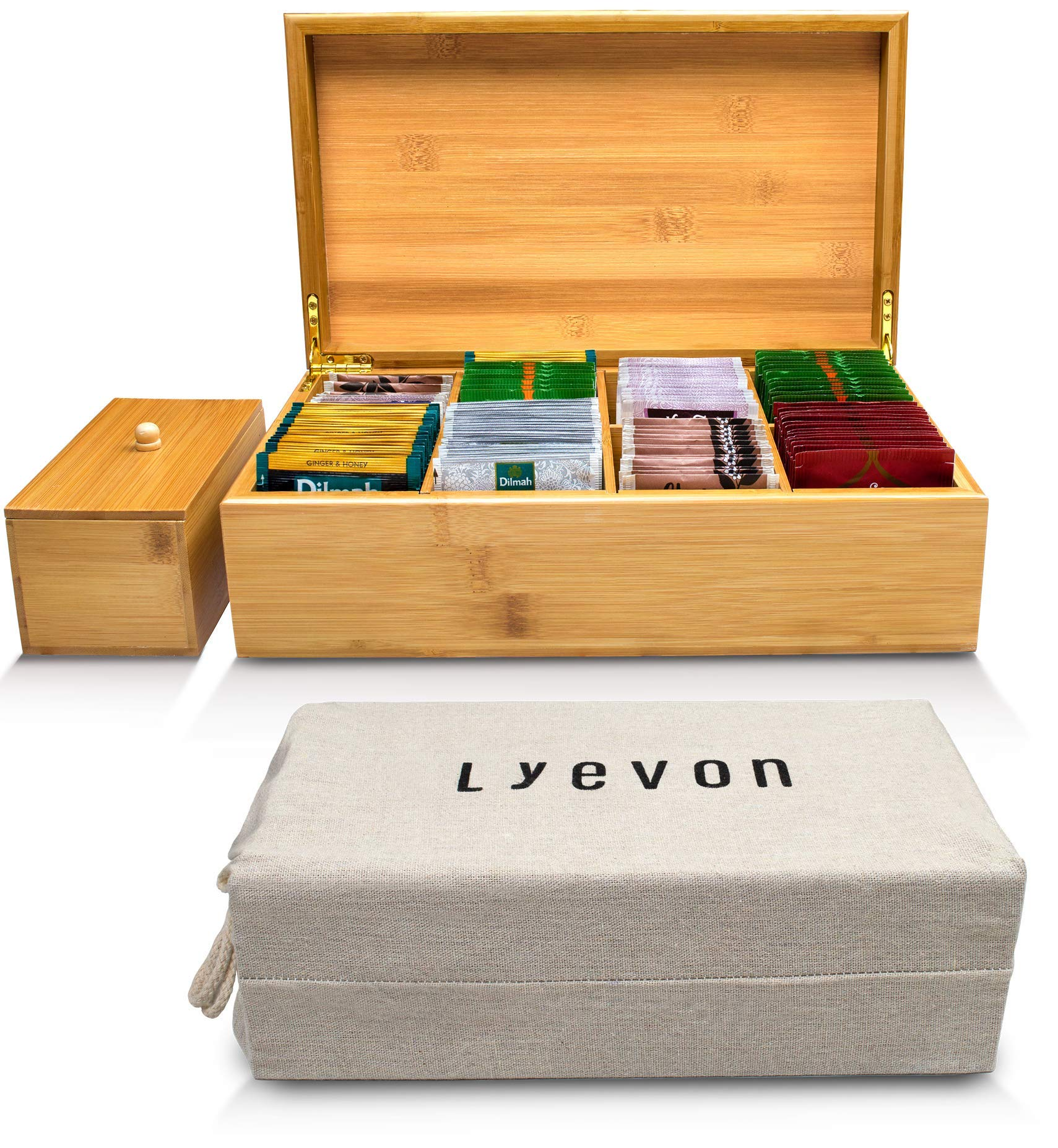 Lyevon Tea Storage Organizer Bamboo Chest Box with 8 Adjustable Compartments for Assorted Tea Bags or Spices -holds 125 Tea Bags by Lyevon
