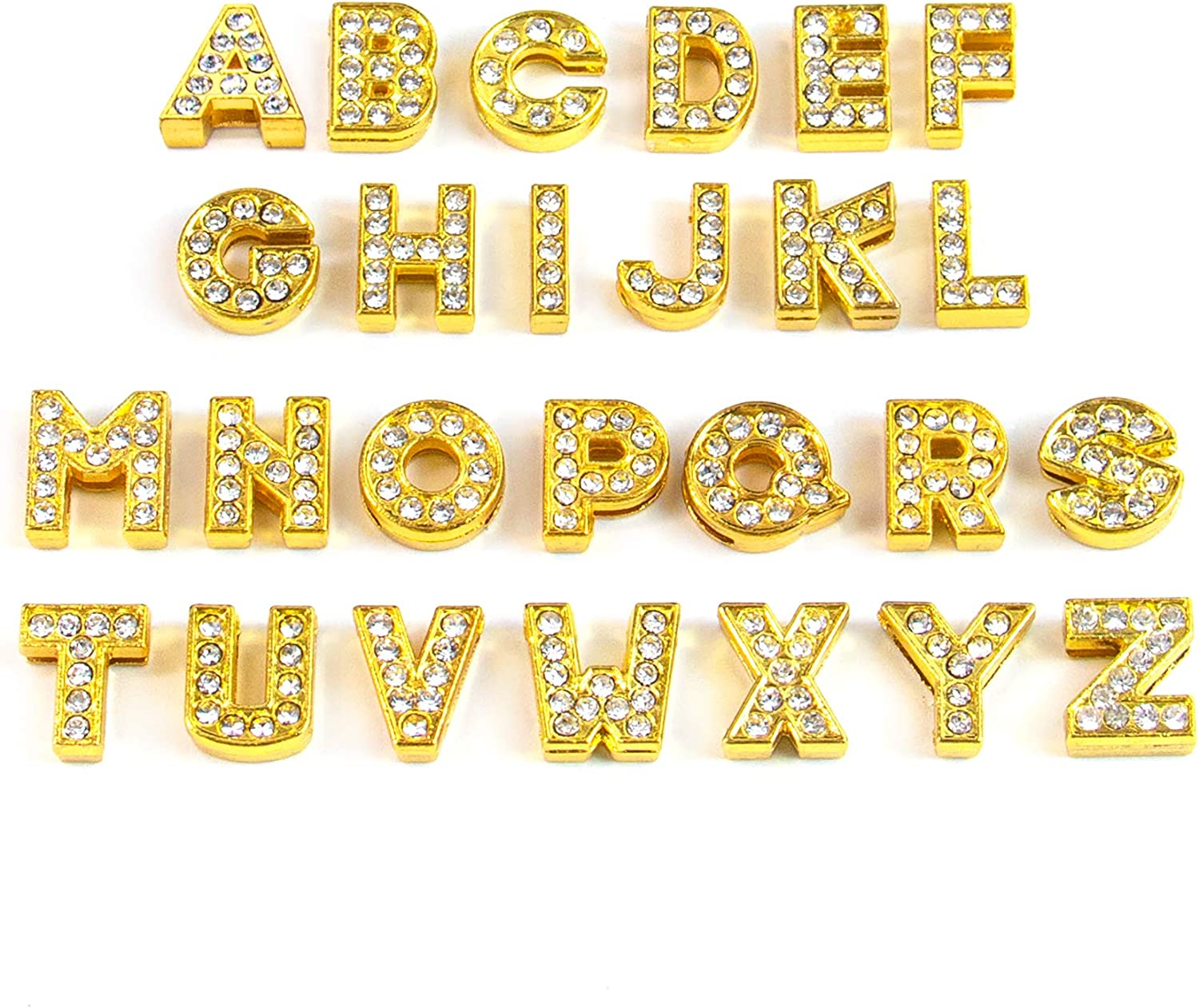 Fits Name Brand Style Charm Bracelets Silver Plated Jewelry A-Z Alphabet Letter Charm Bead Openwork Clear Rhinestones