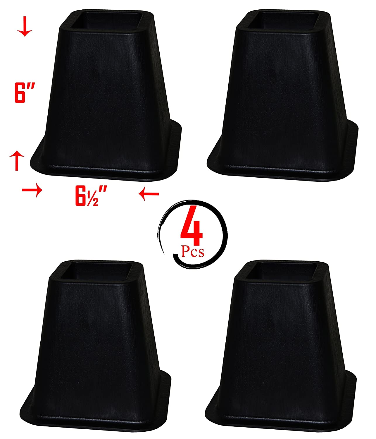 (Pack of 4) Black Bed Risers / Bed Lifts / Furniture Risers – Super Quality, Super Strong, Size: 6'' x 5'' (At Base) Homeco Design HD-99102