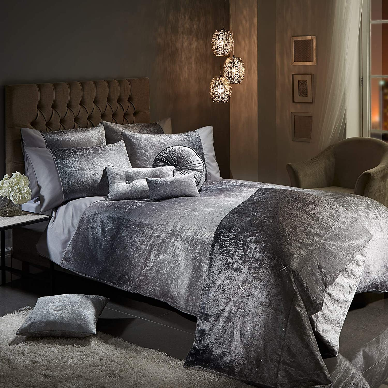 27789d23b9c36 Viceroybedding OMBRE Crushed Velvet Diamante Bedding Bedroom Collection  (Silver Grey Double Duvet Cover Set Including Pair of P/Cases):  Amazon.co.uk: ...
