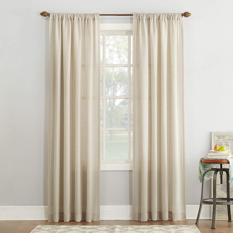 Amazon Com No 918 Amalfi Linen Blend Textured Sheer Rod Pocket Curtain Panel 54 X 95 Ivory Home Kitchen