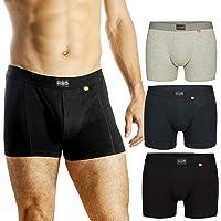 Bóxers para Hombre, pack de 3 o 1, ropa interior de algodón elástico y ultrasuave, corte clásico, calzoncillos ajustados, comodidad superior, bóxers multipack, negro, gris, azul marino