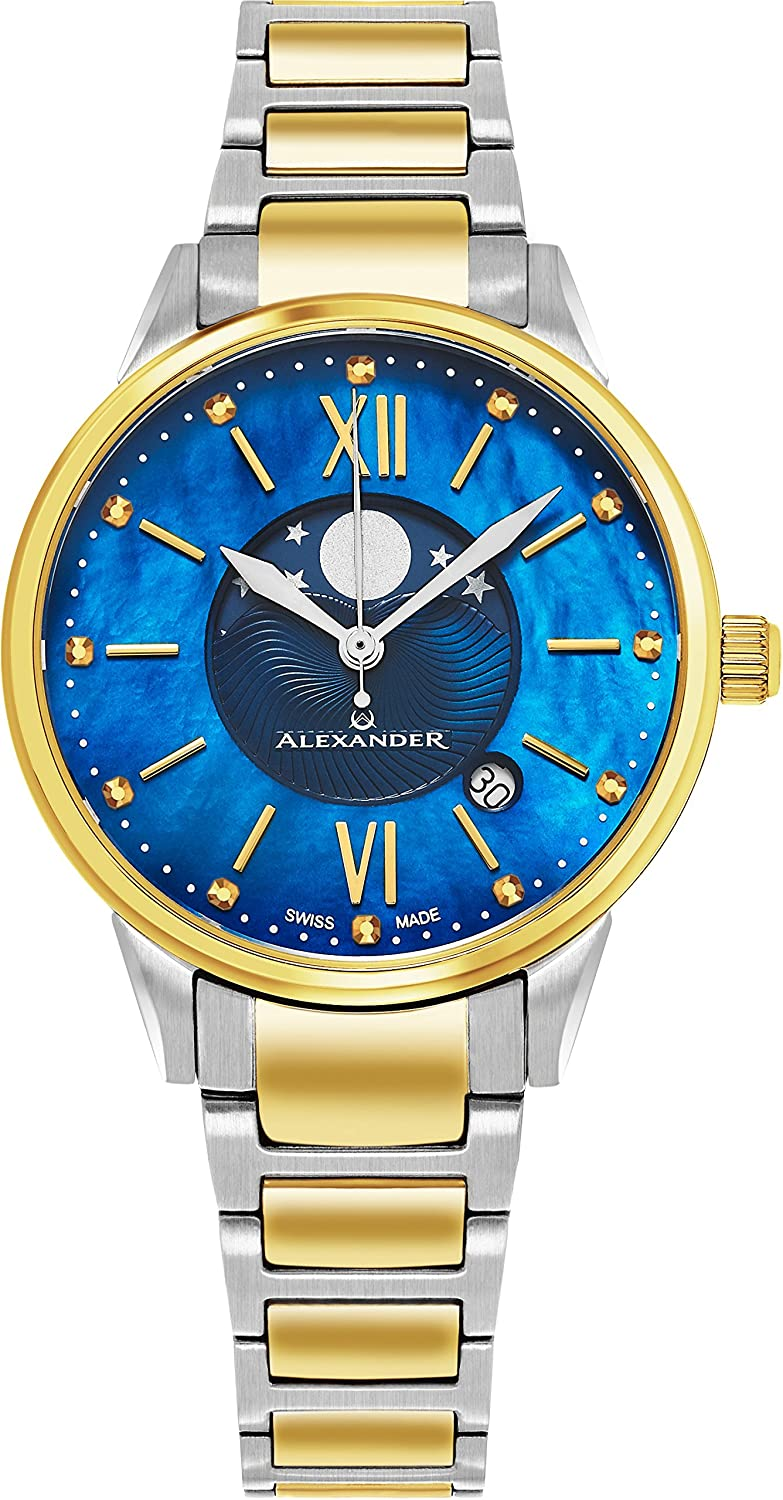 Alexander Monarch Vassilis Moon Phase Date Blue Mother of Pearl 35 MM Face Stainless Steel Yellow Gold Watch for Women – Swiss Quartz Elegant Two Tone Ladies Fashion Designer Dress Watch A204B-03