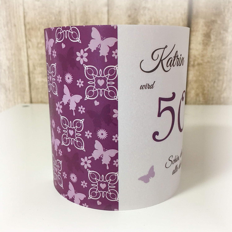 4er Set Tischlicht Tischlichter Schmetterlinge runder Geburtstag 40 50 60 70 80 90 Tischdeko personalisierbar lila violett