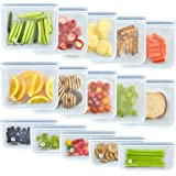 Reusable Storage Bags (10 Sandwich Bags), (5 Snack Bags), Waterproof, Freezer Safe, Leakproof Silicone, and Plastic Free…