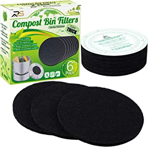 Ruisita 6 Pack Extra Thick Charcoal Filters for Kitchen Compost Bins Refill Replacement Filters, Universal Size with Cutting Template