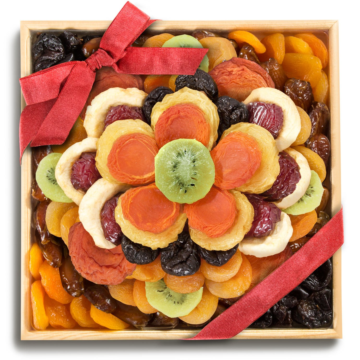 Sweet Bloom Dried Fruit Deluxe Tray Basket Arrangement for Holiday Birthday Healthy Snack Business Kosher