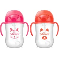 Dr. Brown's Baby's First Straw Cup, Cute Critters, 270ml, Pink/Orange, 2ct