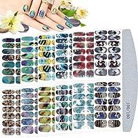 Kalolary Full Wraps Nagellak Stickers Zelfklevend, 12 Vellen Nagelfolie Zelfklevend Nail Art Decals Stickers met 1 Stks…
