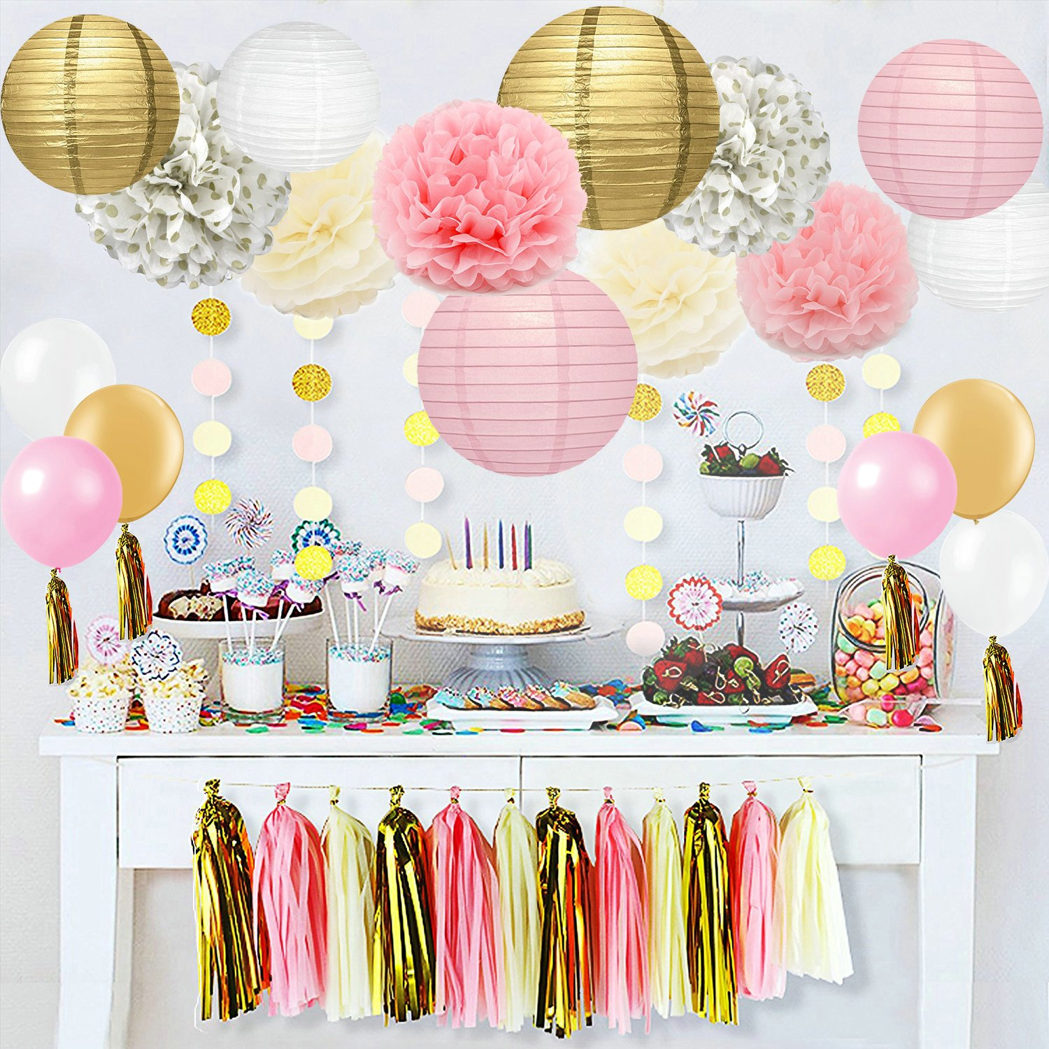 Amazon 40 Pc Ivory Pink And Gold Party Decorations Home Kitchen
