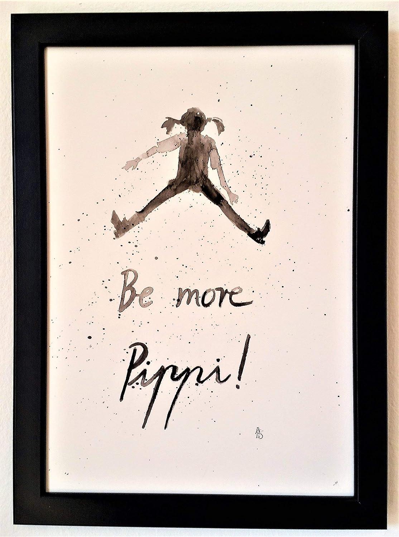 Motivation Sei fr/öhlich Aquarell Spruch Deko Poster Pippi Langstrumpf MIT Rahmen von Hand gemaltes Original Geschenk Din A4 Bild