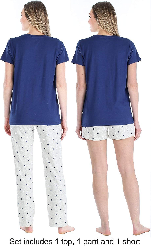 Frankie /& Johnny Womens Loungewear Short Sleeve Tee Pajama Set