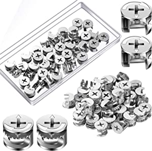 Ripeng 40 Pieces Furniture Cam Lock Fasteners Fittings 15mm x 12mm Furniture Connecter Fasteners for Cabinet Drawer Wardrobe Dresser Panel Connecting Cam Lock Nut