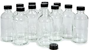 Vivaplex, 12, Clear, 4 oz Glass Bottles, with Lids
