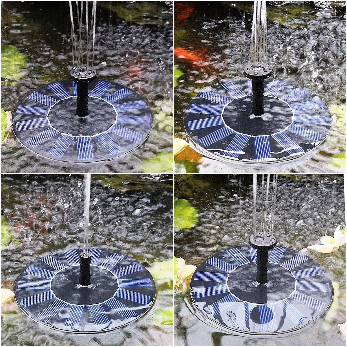 HOPPIC Solar Fountain Free Standing Floating Solar Water Pump with Different Water Patterns for Birdbath