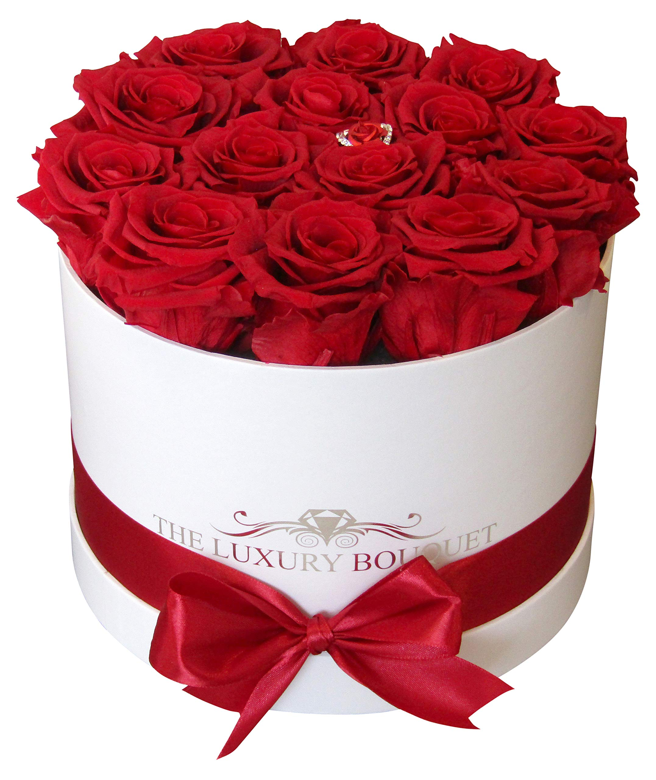 Preserved Premium Quality Classic Red Roses/Real Roses in White Round 8-inch/Box/Long-Lasting Forever Eternal Roses/Last for a Year/No Water/Last Long Forever Rose Bouquet by The Luxury Bouquet