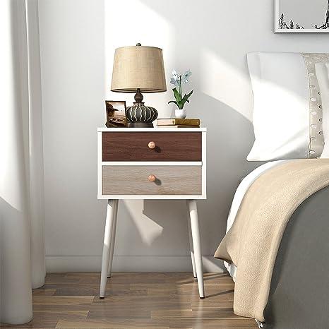 Lifewit Tavolino al Fianco con 2 Cassetti Side Table Nightstand per Camera  da Letto Soggiorno, Bianco
