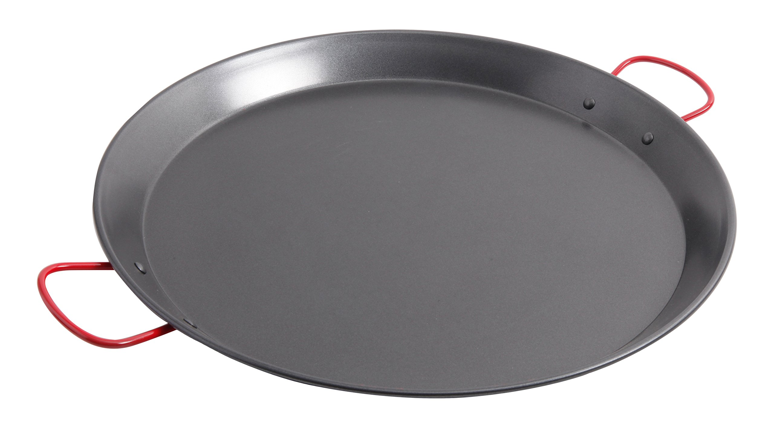 Oster Cocina 111894.01 Corrales Paella Round Carbon Steel Pan with Stainless Steel Handles, Red