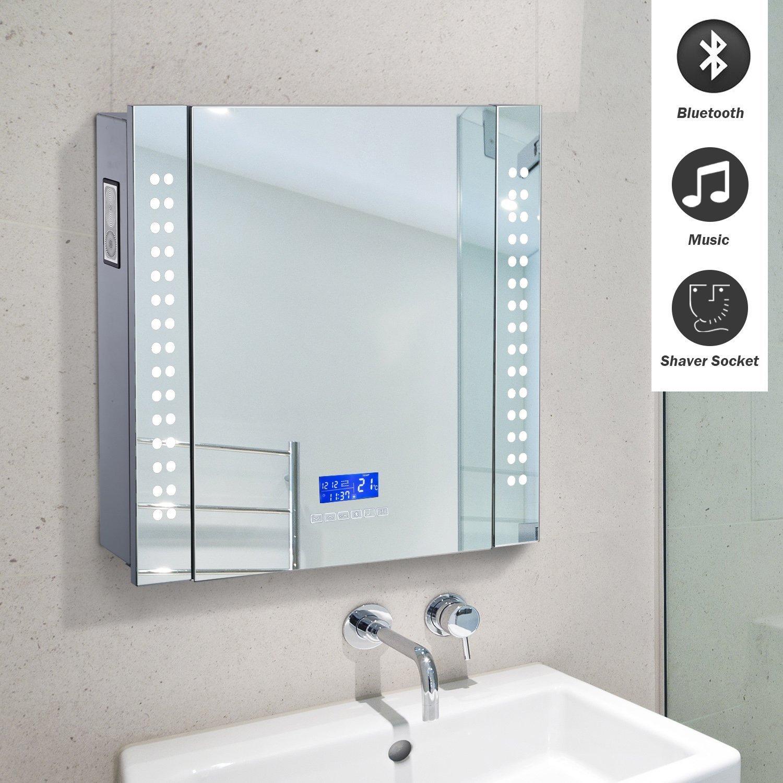 Amazon.com: HOMCOM 25\'\' x 23\'\' Wall Mounted LED Lit Bathroom Mirror ...