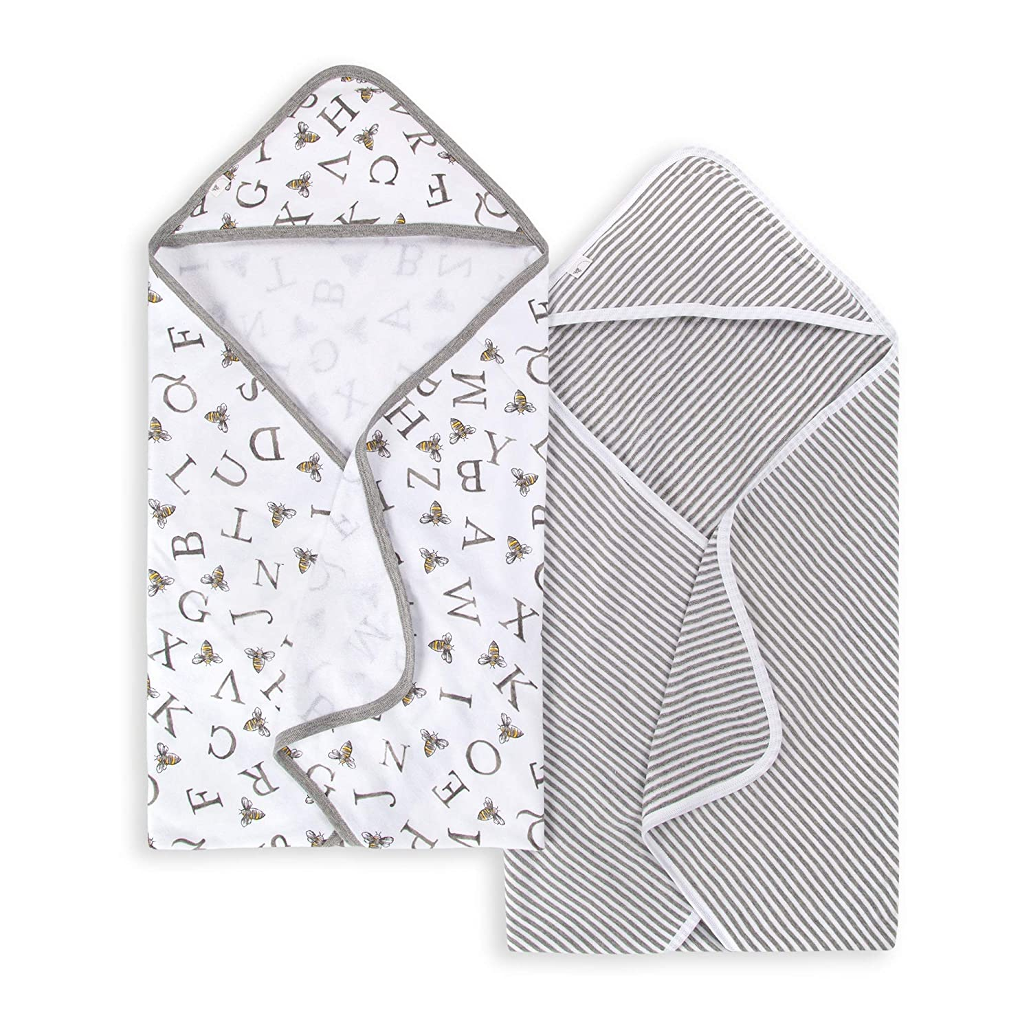 Burt's Bees Baby - Hooded Towels, Absorbent Knit Terry, Super Soft Single-Ply, 100% Organic Cotton 2 Pack), A-Bee-C, 2 Pack
