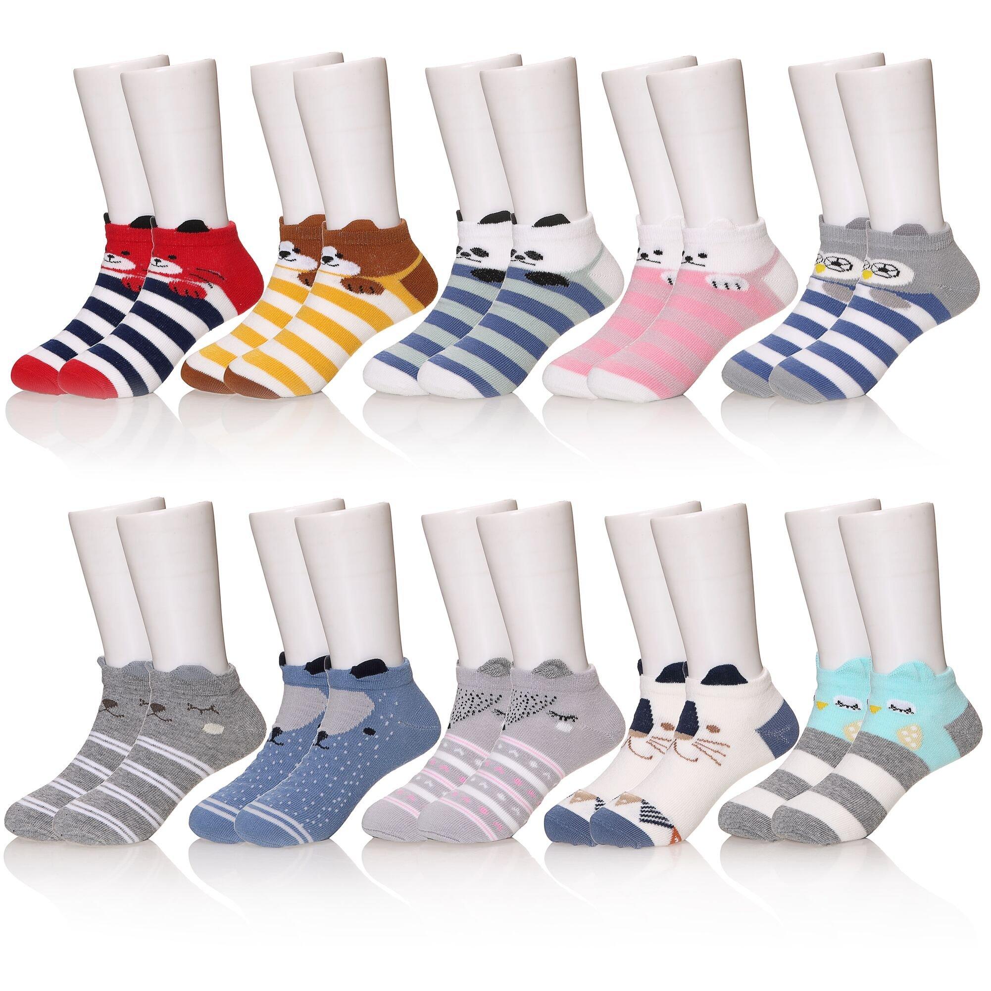 KAKAYAO 10 Pairs Baby Kids Girls Boys Toddler Socks Soft Breathable Cute Cotton Socks(Cartoon 1, S(1-3 Year))