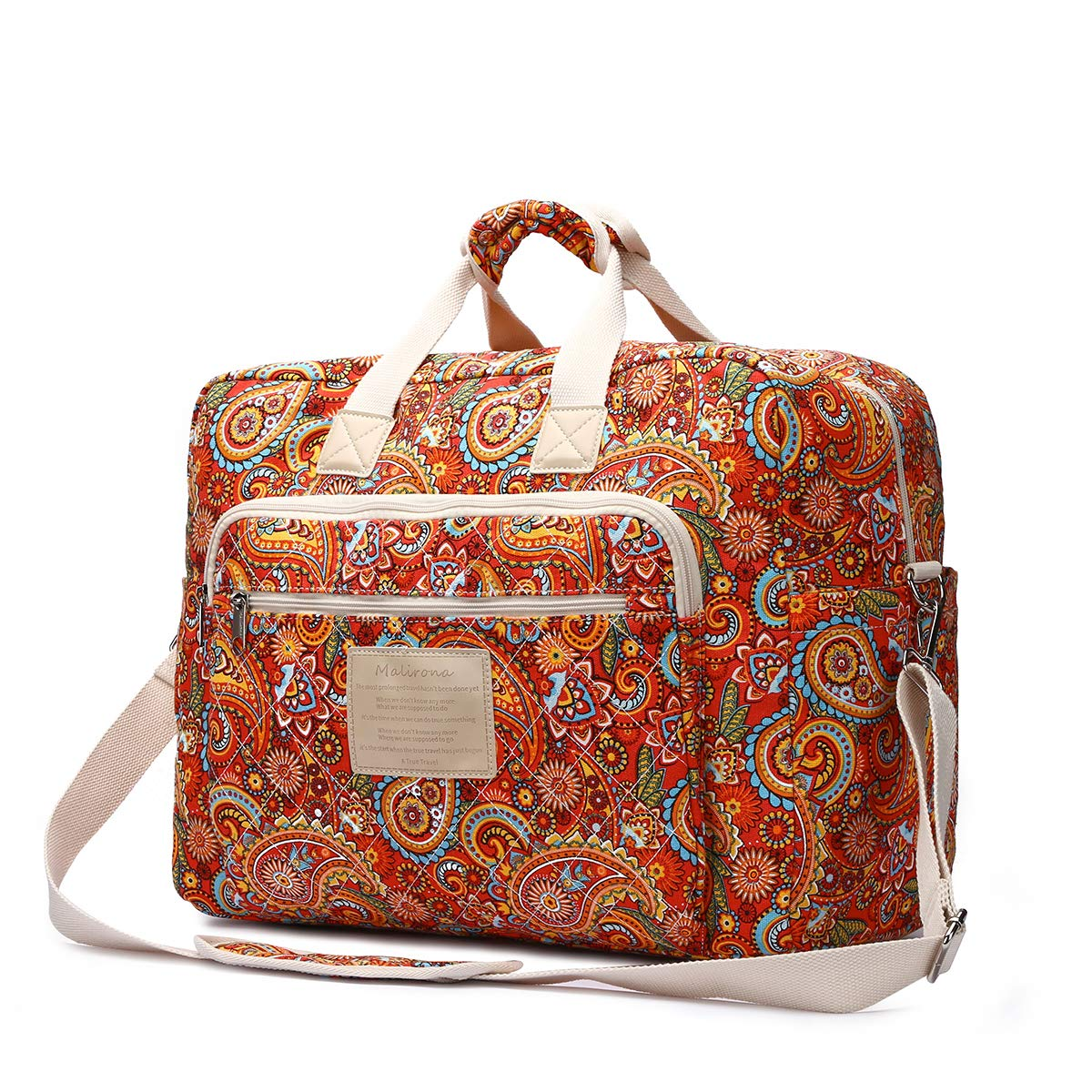 Malirona Women's Canvas Overnight Weekender Bag Carry On Travel Duffel Tote Bag Bohemian Flower (Red Flower) by Malirona (Image #2)