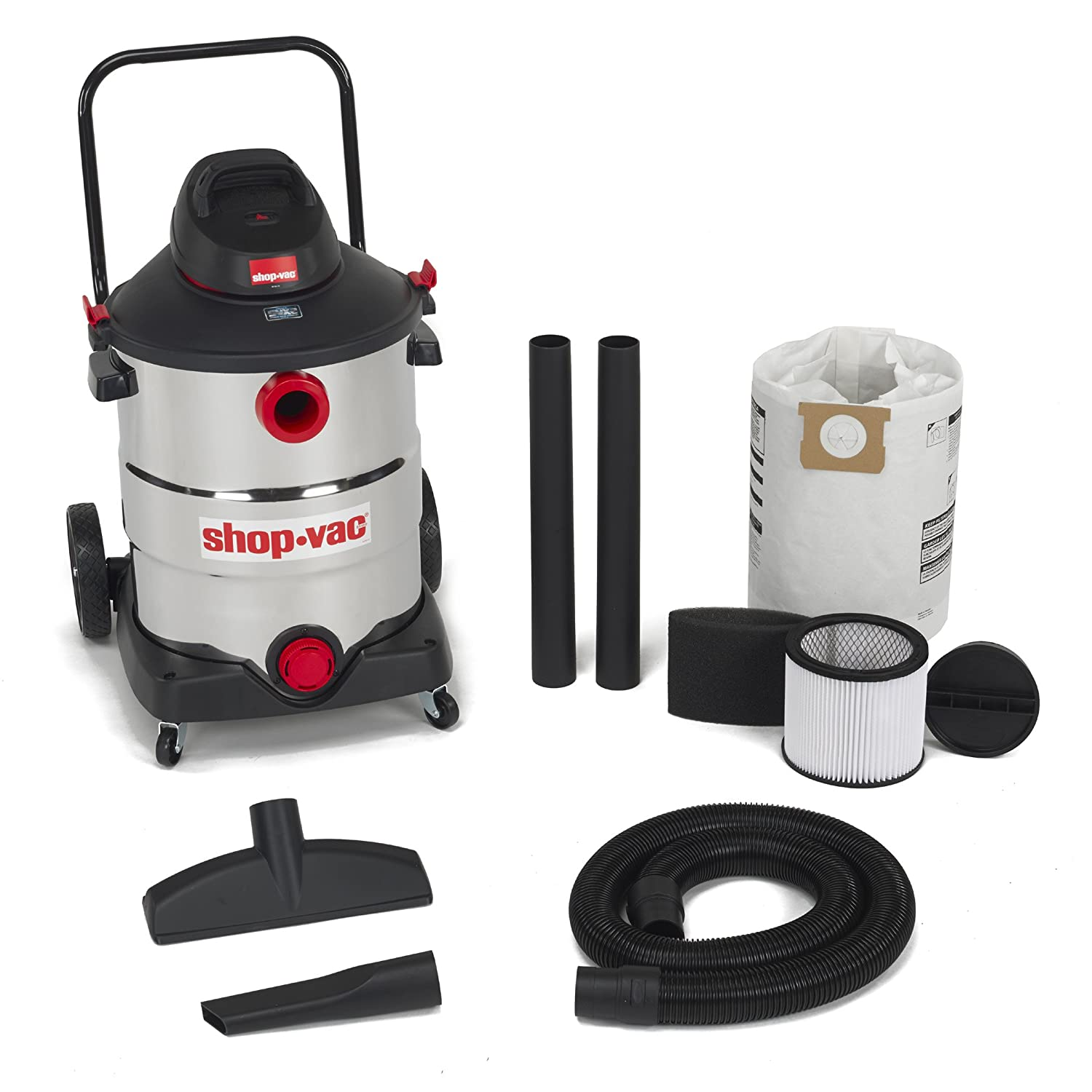 Shop-Vac 5989700 16 gallon 6.5 Peak HP Stainless with Handle Wet Dry Vacuum Black with Accessories uses Type U Cartridge Filter Type R Foam Sleeve & Type G Filter Bag