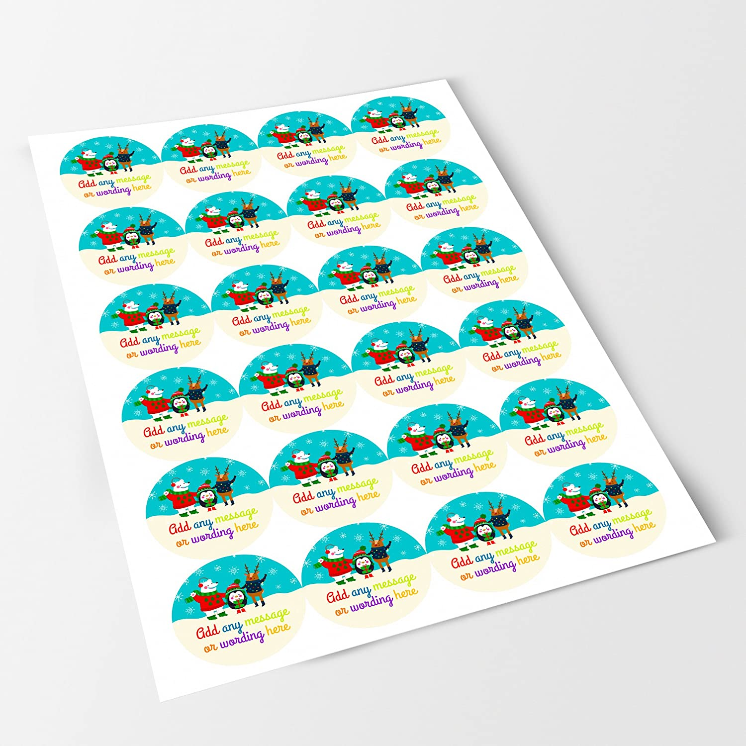 Bottles Christmas Holiday Sticker Labels Personalised Seals Ideal for Party Bags Presentations Gift Boxes Sweet Cones Crafts Favours Jars