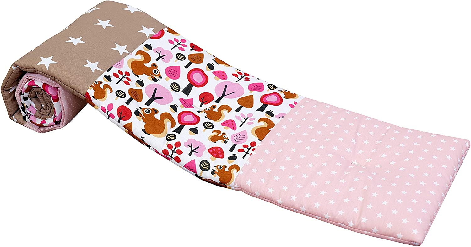 Elephants Mint Pink ULLENBOOM Baby Cot Bumper I Cotton Crib-Liner for Sleep Protection I with Soft Padding I 145 x 24 cm
