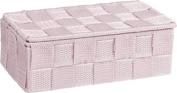 L x a x p Wenko 22571100/Adria mini cestino da bagno con coperchio in plastica Rosa 18/x 10/x 6 cm