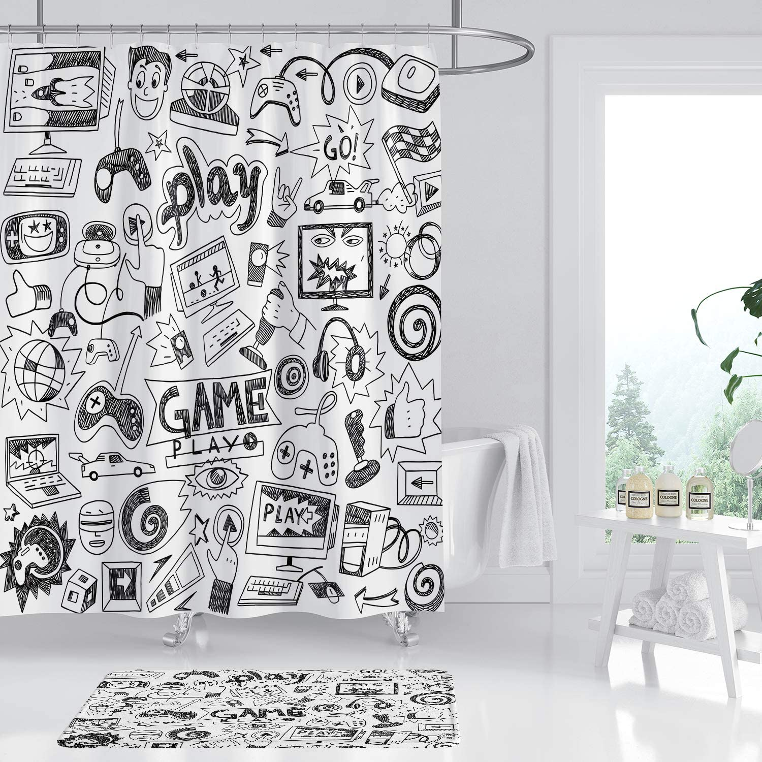 Borylin Game Boys Shower Curtain Mat Set 2 Pcs Non-Slip Rug Kids Black and White Graffiti 12 Pack Plastic Hooks Woman Lady Female Art Print Bathroom