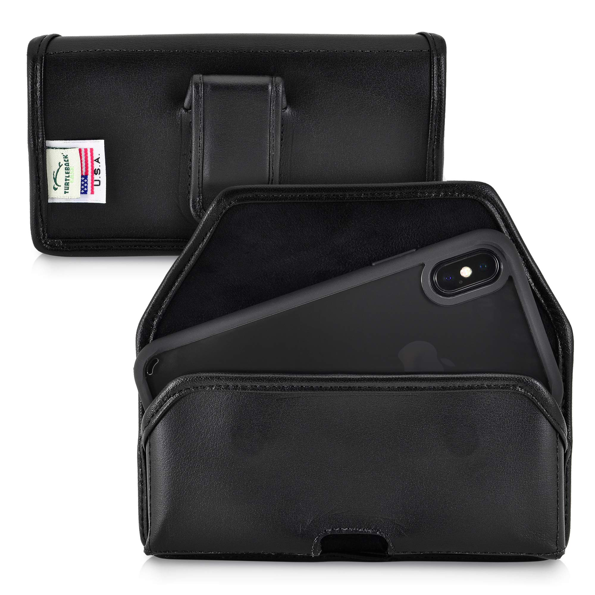 Turtleback Holster Designed for iPhone Xs (2018) / Designed for iPhone X (2017) Belt Case Black Leather Pouch with Executive Belt Clip, Horizontal Made in USA