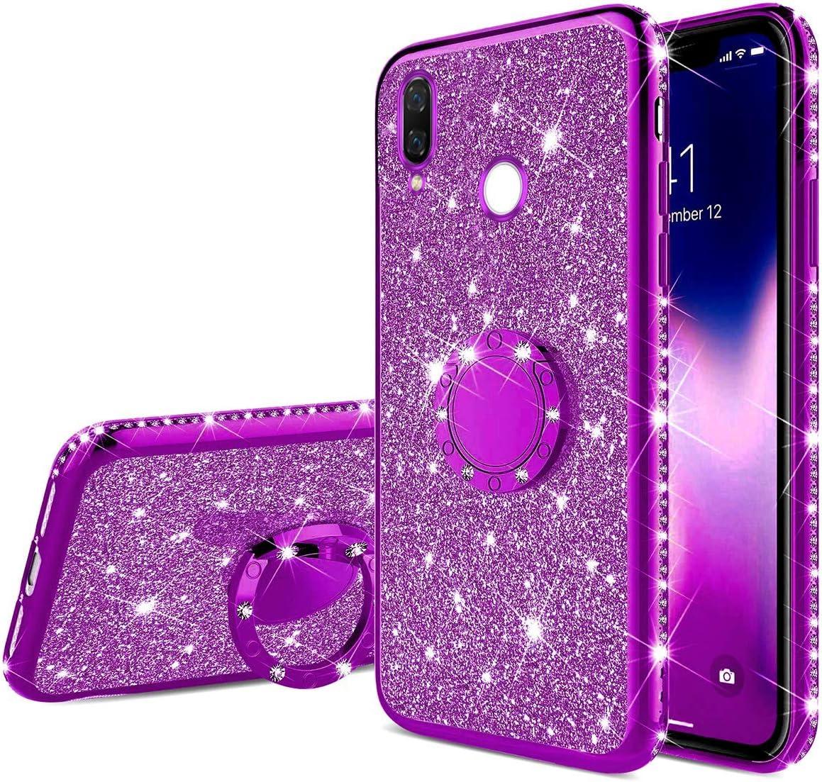 Felfy Anillo Funda Compatible con Xiaomi Redmi Note 7 Carcasa Diamante,Compatible con Funda Redmi Note 7 Purpurina Brillante Brillo Case con Anillo Ultra Slim Silicona TPU Glitter Funda-Púrpura