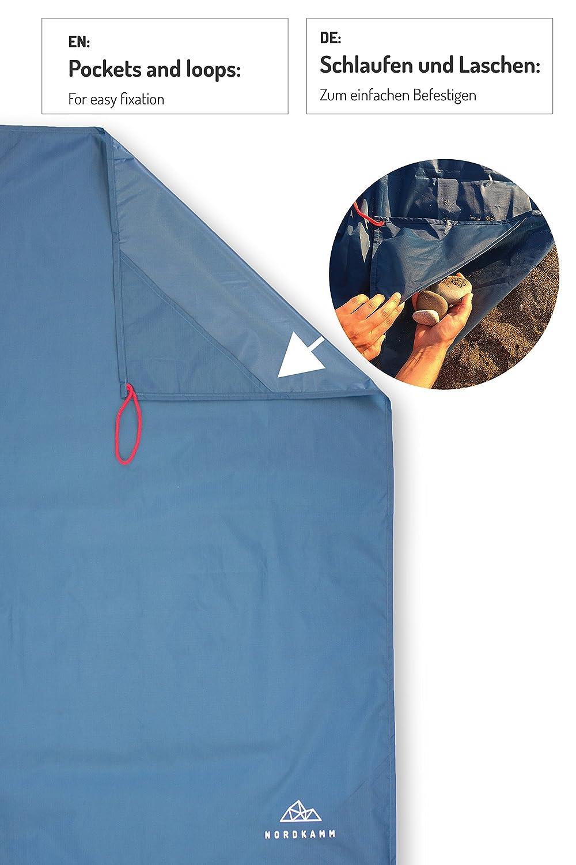 Taschendecke Sitzunterlage NORDKAMM Campingdecke Ground Sheet Outdoor Camping Picknickdecke wasserdicht Ultraleicht u kompakt f/ür Strand ideal als Pocket Blanket Stranddecke