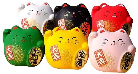 Gatos japoneses de la suerte, redondos, 6 unidades de diferentes colores