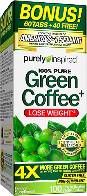 Purely Inspired Green Coffee Bean, Weight Loss Supplement, Non-Stimulant 100% Pure Green Coffee for Weight Loss, 100 Count *Bonus Size* (PIN305)