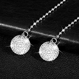 Alotex Pair of Crystal Ball Car Rear View Mirror Charm,Rhinestone Car & Home Decor Hanging Ornament,White Bling Car Accessories for Women & Men,Lucky Sun Catcher Car Interior Decoration(White)