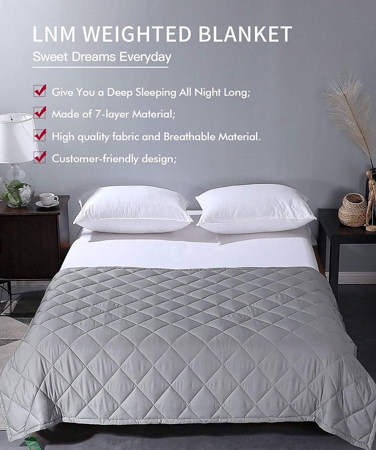 LNM Weighted Blanket Spring Summer Soft Cotton Cooling Heavy Throw with Cotton Glass Beads for Women Men Youth 60x80 15lbs for 120-180 lbs Grey for Pressure Insomniac