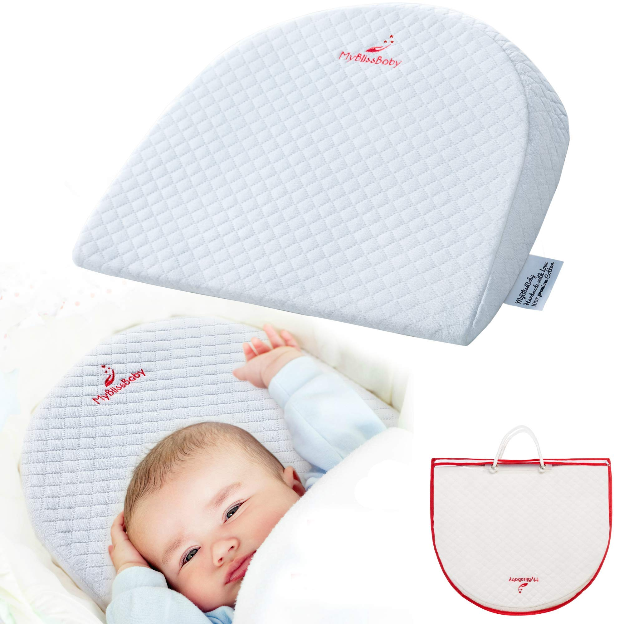 Baby Bassinet Wedge for Acid Reflux Relief Better Sleep Infant Incline Positioner Newborn Sleeping Pillow with Cotton Waterproof Removable Cover and 3 EBooks by MyBlissBaby